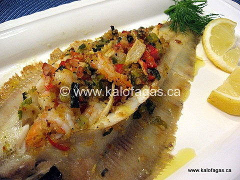 Baked Sole Stuffed With Seafood