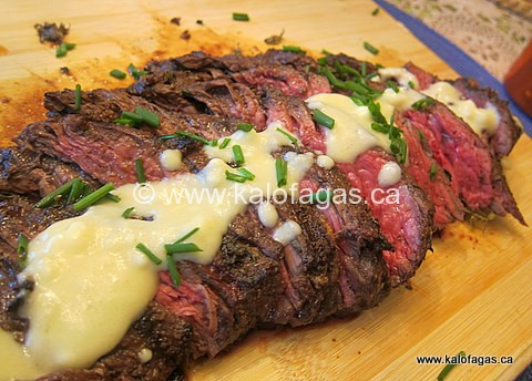 Grilled Flank Steak With a Warm Feta Sauce