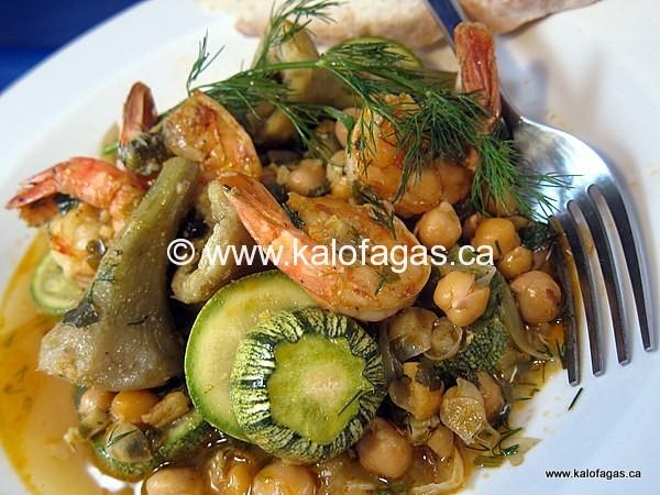 Shrimp With Artichokes & Chickpeas