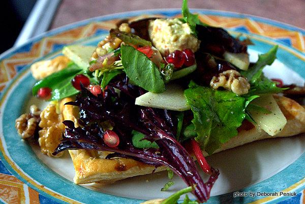 Festive Salad With Kopanisti Cheese, Walnuts, Green Apples