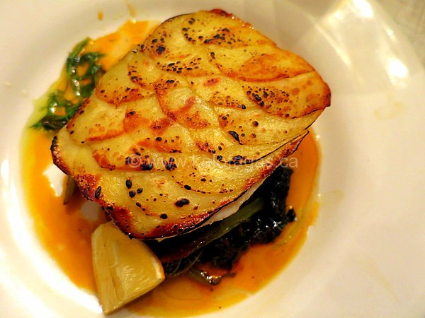 Potato Crusted Fish With Braised Greens