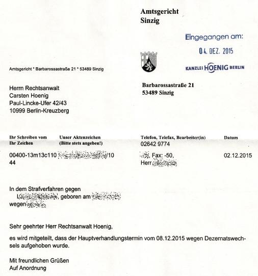 AG Sinzig hebt Termin auf