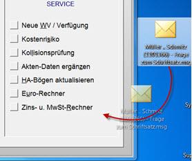 E-Mail per Drag & Drop zuordnen, auch direkt aus Outlook und auch für mehrere E-Mails gleichzeitig