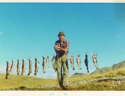Grandad & salmon in hills Jun 66