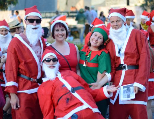 Santas in Federation Square, Melbourne
