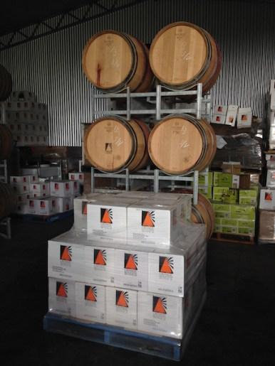 Wine barrels and wine boxes at Orange Mountain Wines, Orange Wine Tours