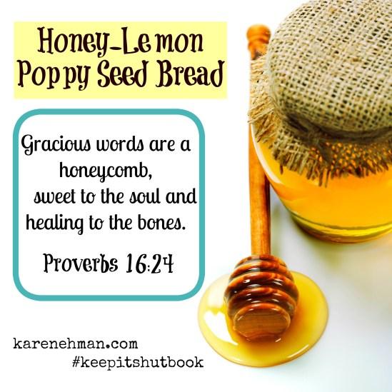 Honey-Lemon Poppy Seed bread. As pretty as it is tasty! From karenehman.com
