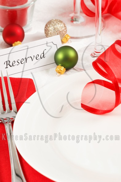Royalty Free Content: Reserved Christmas Table Setting