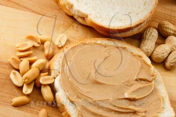 Royalty Free Content: Peanut Butter On Bread With Peanuts