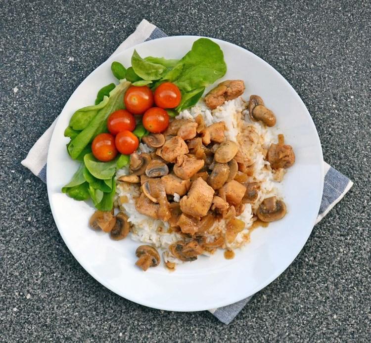 Kylling og sopp med dijonsennep og balsamico