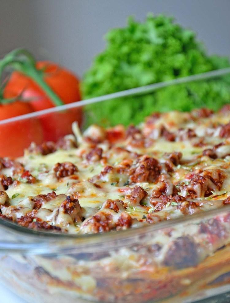 Lompelasagne med squash, parmesan og cottage cheese