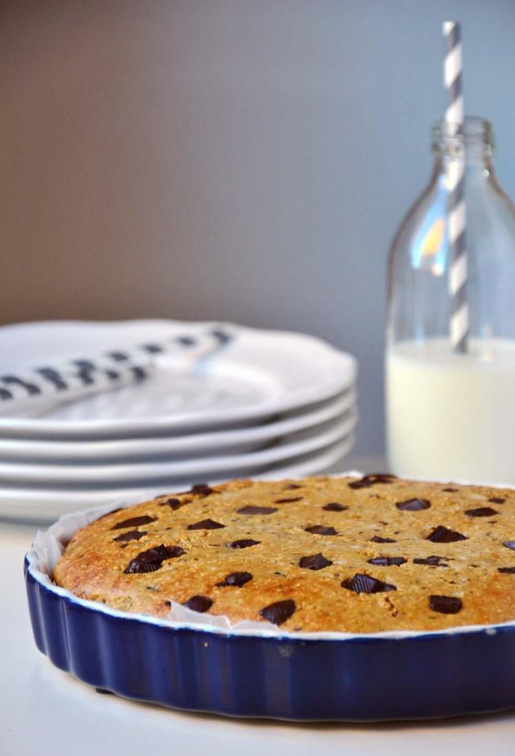 Havre- og sjokolade cookie pie