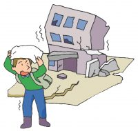 地震避難の様子