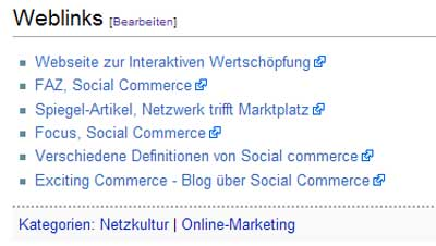 Weblinks in Wikipedia zu Social Commerce