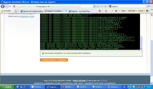 Der Installer lädt alles auf dem Webspace