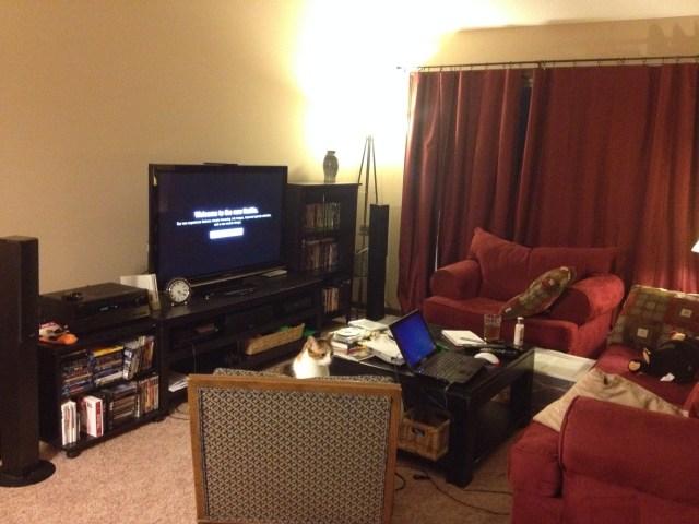 living room w/new movie shelf.