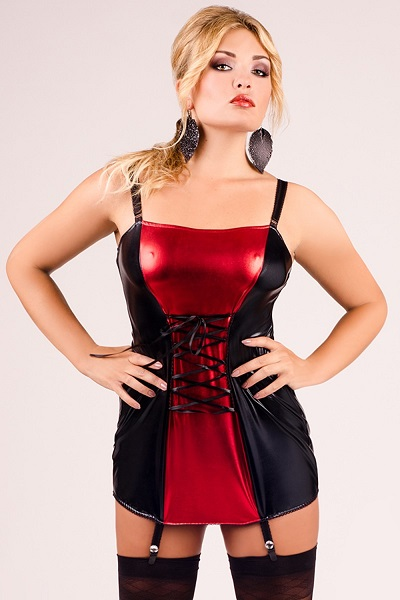 schwarz/rotes Strapshemd M/1024 von Andalea Dessous