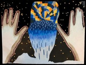 """H Universe 11"""" x 14"""" color pencil on paper"""