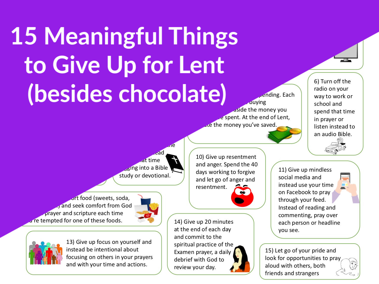 free idea sheet for 15 meaningful things to give up for Lent