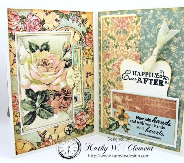 Pastels and Pearls  Wedding Card for Frilly and Funkie,  Graphic 45 Ladies' Diary Wedding Card by Kathy Clement 07