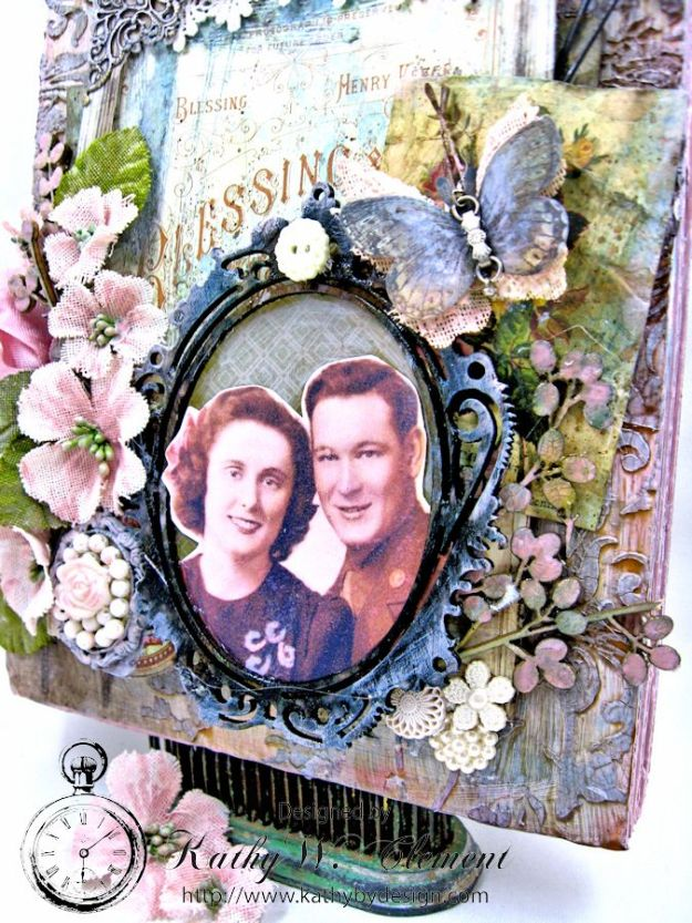 All in the Family mixed media wall hanging by Kathy Clement for the Frilly and Funkie Challenge Blog Photo 3