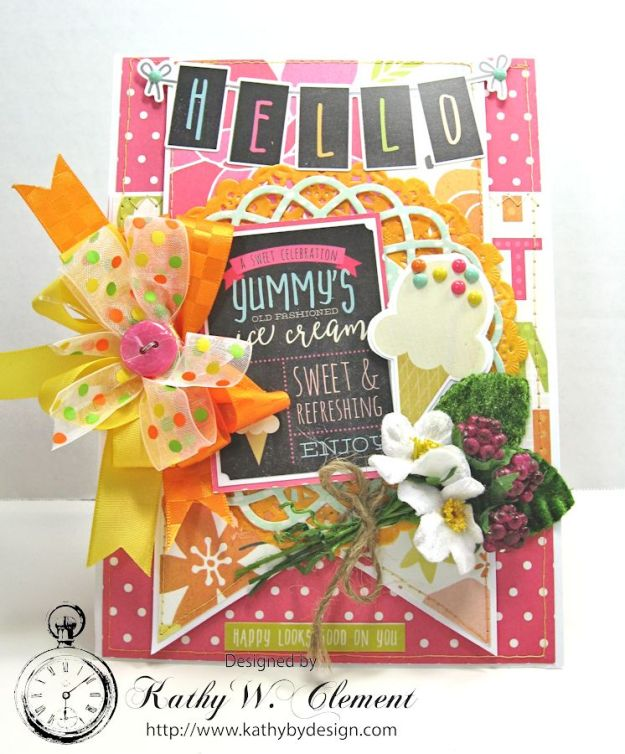 We All Scream for Ice Cream Ice Cream Birthday Card by Kathy Clement Simple Stories Sunshine and Happiness for Petaloo International Summer Fun 03