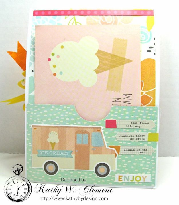 We All Scream for Ice Cream Ice Cream Birthday Card by Kathy Clement Simple Stories Sunshine and Happiness for Petaloo International Summer Fun 05