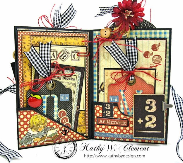 Petaloo Goes Back to School Mini Album, ABC Primer, By Kathy Clement, Product by Petaloo and Graphic 45 Photo 3