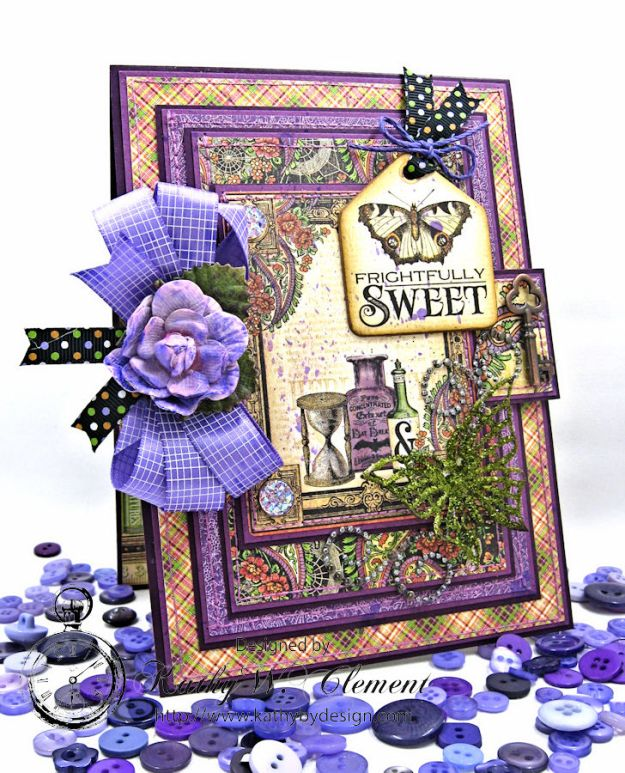 Frightfully Sweet Halloween Card, Rare Oddities, by Kathy Clement for Really Reasonable Ribbon, Product by Graphic 45 Photo 1