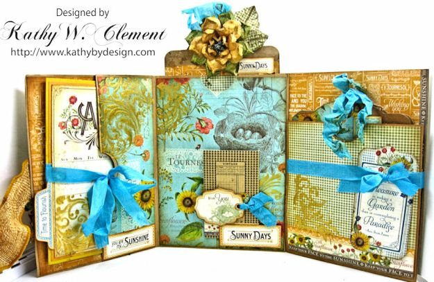 Sunflowers Mini Album, Time to Flourish, by Kathy Clement for Frilly and Funkie Floral Infatuation Challenge, Product by Graphic 45, Photo 6