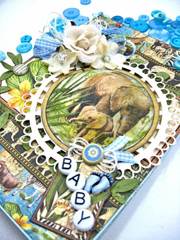 Welcome to our Jungle Baby Boy Elephant Card, Safari Adventure, by Kathy Clement, Product by Graphic 45 Photo 4