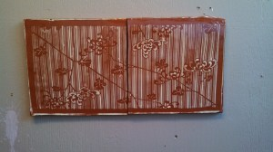 I love the exciting use of positive and negative space in floral imagery. Terra-Cotta Double Tile with Japanese Textile Design