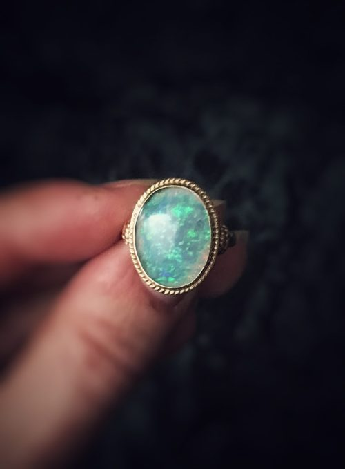 Antique 14kt Gold Fiery Opal Ring