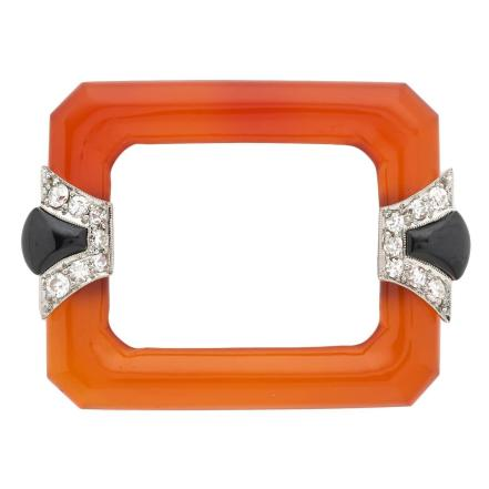 1920s Art Deco Carnelian Onyx Diamond Platinum Brooch