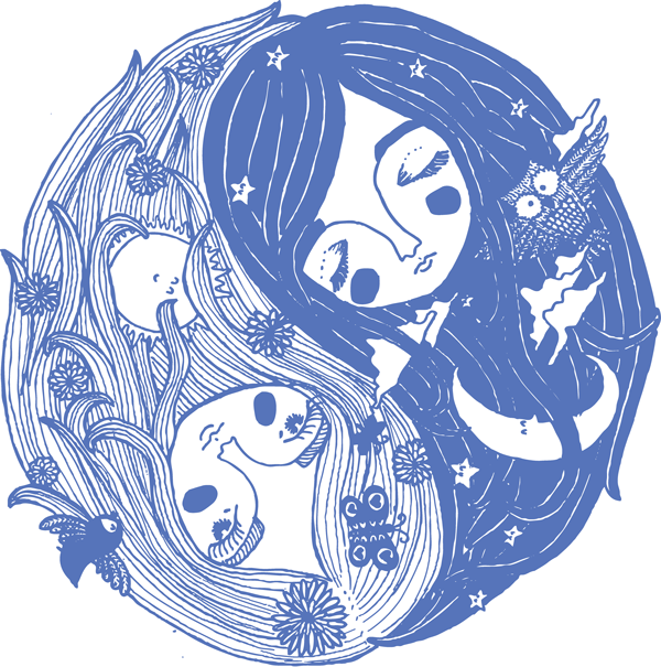 illustration ying and yang night day contrast line drawing owl moon sun bird butterfly girls