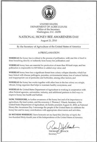 Secretary Thomas J. Vilsack declaration Honey Bee Awareness Day