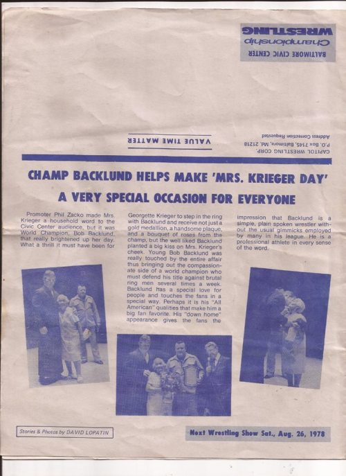 Bob Backlund Newspaper Article