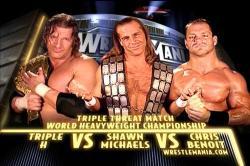 Triple H vs Shawn Michaels vs Chris Benoit Wrestlemania 20