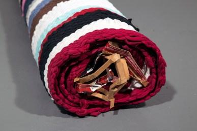 Roll 2014 (detail) tee-shirts, cardboard, nylon thread