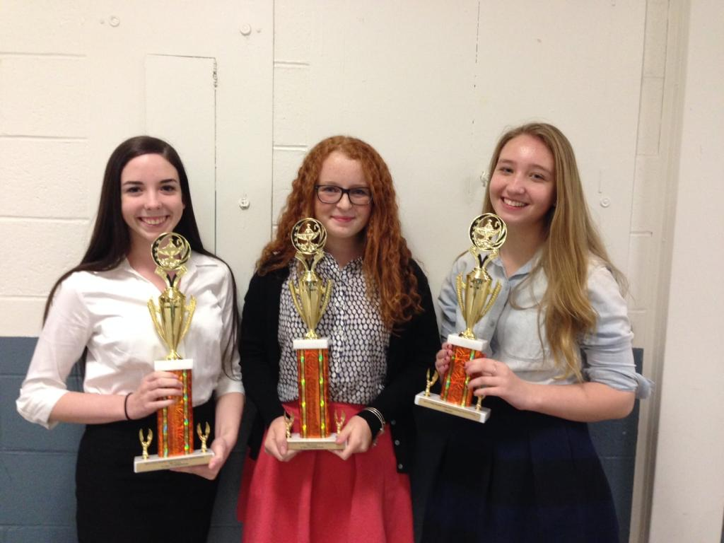 Maegan Cross, Fiona Danyko and Caitlin Gaine at the last speech tournament.