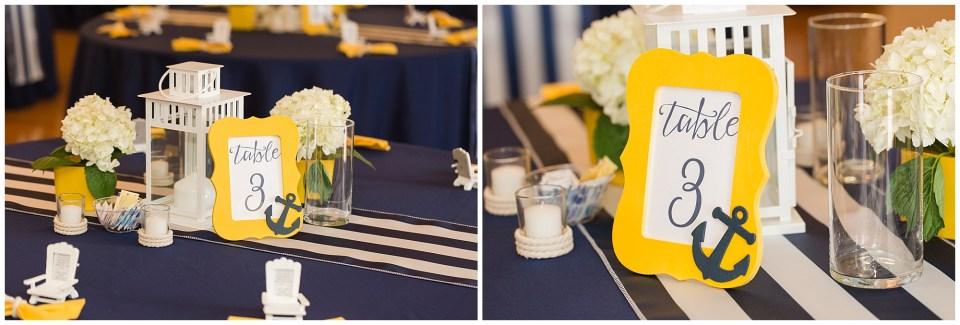navy and yellow wedding reception decorations