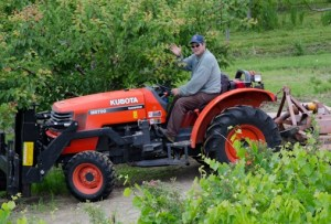 Orchardist Herb Kempf cutting grass in reparation for cherry picking season