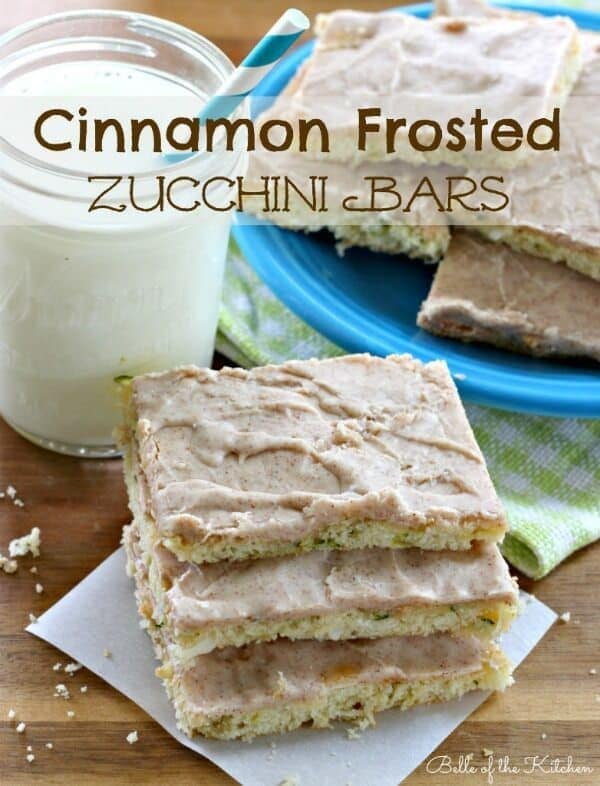 Cinnamon Frosted Zucchini Bars - Belle of the Kitchen