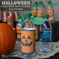 Halloween Dasani Water Bottle Pumpkins: Free Printable