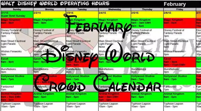 February 2018 Disney World Crowd Calendar with Park Hours and ...