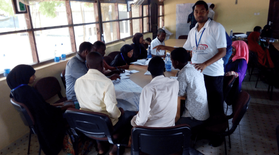 Anthony, Director of Projects & Research at KENPRO facilitates a group session during one of the project planning and management training sessions in Kenya
