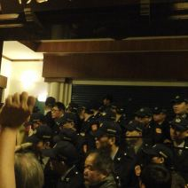 Inside the parliament before the police's first attempt to enter (Photo by Felicia Lin)