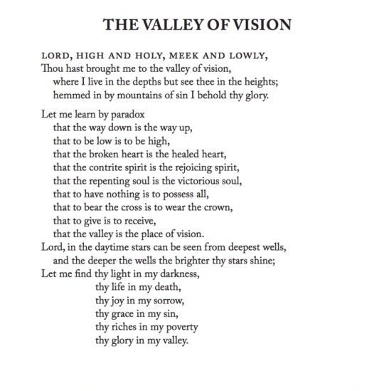 The valley of vision by arthur bennett a review anchored in christ