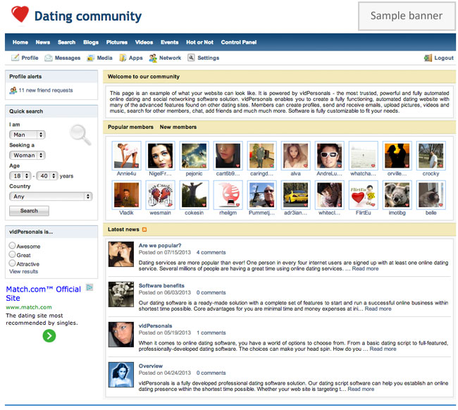 VLD Personals Dating Script