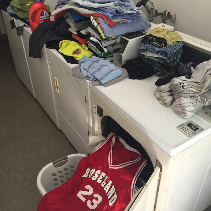All my laundry at once, including my Roseland b-ball jersey.